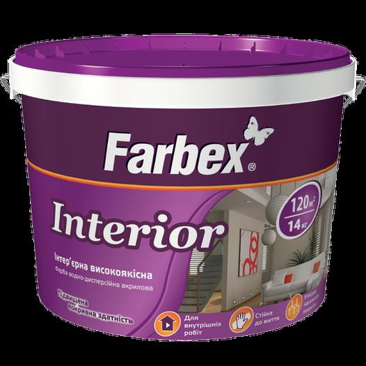 """Краска Farbex интерьерная высококачественная """"Interior"""" (Интериор), 14 кг (База А)"""