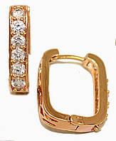 Серьги MAR, цвет советского золота . Камень: белый циркон. Высота серьги 2 см. ширина 4 мм.