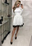 Женское платье с юбкой с гипюром на юбку длинный рукав с неопрена