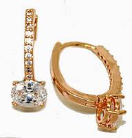 Серьги MAR, цвет советского золота . Камень: белый циркон. Высота серьги 2 см. ширина 6 мм.