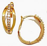 Серьги MAR позолота с лимонным оттенком, камень - белый циркон, высота серьги  1.8 см ширина 8 мм.