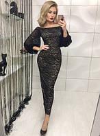 Женское вечернее платье с гипюра длинное