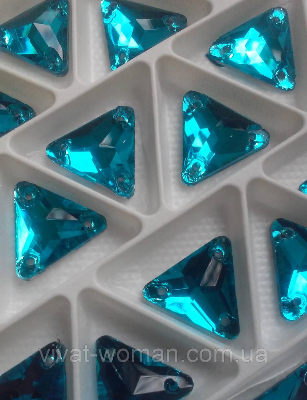 Стразы пришивные Треугольник 16 мм Бирюза, стекло