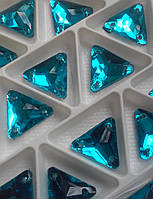 Стразы пришивные Треугольник 16 мм Бирюза, стекло, фото 1