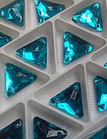 Стразы пришивные Треугольник 12 мм Бирюза, стекло