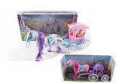 Карета с лошадью и куклой, лошадь ходит, музыка