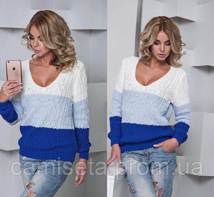 свитер женский вязаный с глубоким декольте P4641 продажа цена в