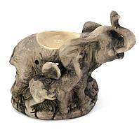"""Аромалампа """"Слон со слоненком"""" антик(16х17х8,5 см)."""