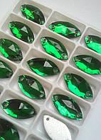 Стразы пришивные Маркиз 9х18 мм Green, стекло