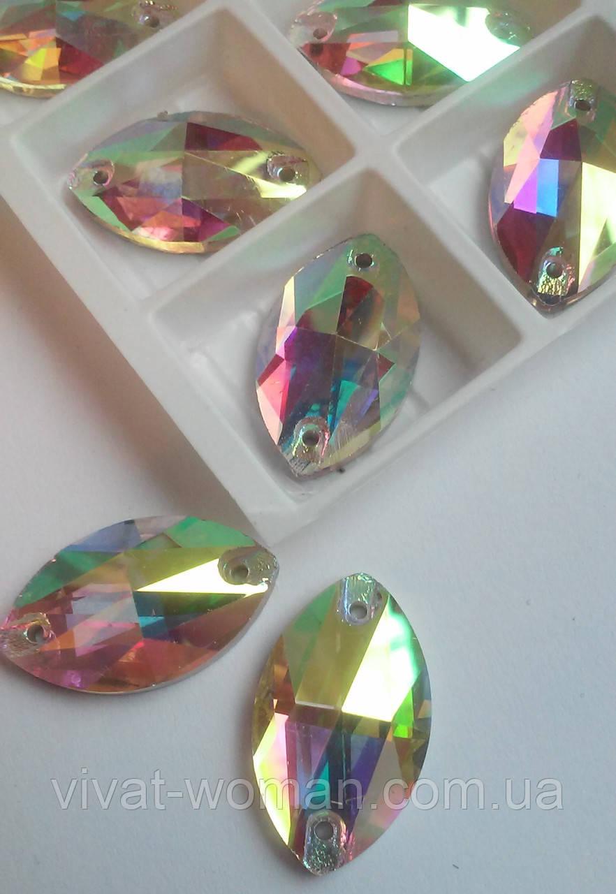 Стразы пришивные Маркиз 13x22 мм Crystal AB, стекло