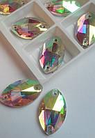 Стразы пришивные Маркиз 13x22 мм Crystal AB, стекло, фото 1