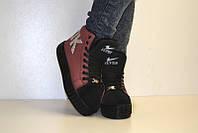 Ботиночки сникерсы теплые зима  на платформе ОК  red супер цена с 36 по 41 в наличии