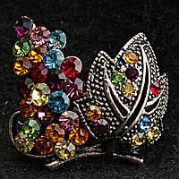 [28/25 мм] Брошь металл под капельное серебро виноградная лоза с разноцветными камнями