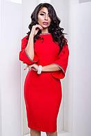 Нарядное Женское Платье Силуэтного Кроя со Стразами Красное р. 40-50