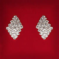 [23x15 мм] Серьги женские белые стразы светлый металл свадебные вечерние гвоздики (пуссеты) ромб каскад средние