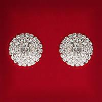 [19x19 мм] Серьги женские белые стразы светлый металл свадебные вечерние гвоздики (пуссеты) цветок крупные