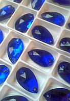 Стразы пришивные Капля 11х18 мм Синий, стекло