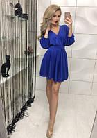 Женское коктейльное платье синие до середины бедра