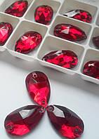 Стразы пришивные Капля 11х18 мм Красный, стекло