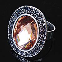 Кольцо без р-р  S-узор кристалл янтарный