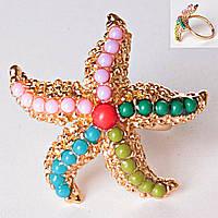 Кольцо без р-р  морская звезда самоцветы