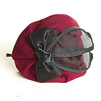 Обруч на голову шляпка бордовая с чёрным атласным бантом, 12см