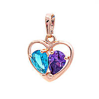 Кулон Xuping Сердце,голубой и фиолетовый стразы, цвет золото