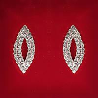 [32x13 мм] Серьги женские белые стразы светлый металл свадебные вечерние гвоздики (пуссеты) овал вытянутыесредние
