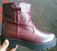 Ботинки женские зимние натуральная кожа бордового цвета