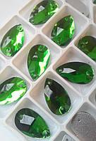 Стразы пришивные Капля 7х12 мм Зеленый, стекло