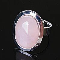 """Кольцо Розовый кварц гладкая оправа плоская  """"М"""" овальный  камень 2,2*1,7см без р-р"""