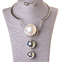 Набор ожерелье + серьги огромная жечужина сильвер