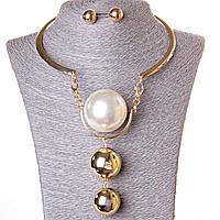 Набор ожерелье + серьги огромная жечужина голд