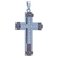 Кулон Крестик,металл двух цветов темное и светлое серебро,белые стразы