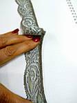 Кружево  стрейч серо-бежевое антик шелковое 3 см с переходом цвета  шелк , сток Англия  , фото 5