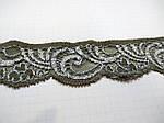Кружево  стрейч серо-бежевое антик шелковое 3 см с переходом цвета  шелк , сток Англия  , фото 3