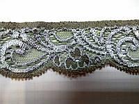 Кружево  стрейч серо-бежевое антик шелковое 3 см с переходом цвета  шелк , сток Англия