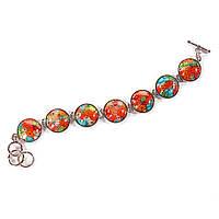 [20 см] Браслет женский пресовка цветы 7 камней круг на Тогл муранское стекло