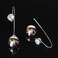 [15/8 мм] Серьги продевка шар под золото страза