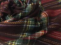 Женский шерстяной шарф в клетку 189х76 см бордовый