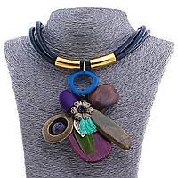 Колье Африка, с подвеской из деревянных деталей на чёрном шнуре, в сине-коричневых тонах