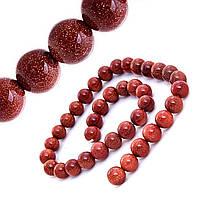 Бусины натуральный камень на нитке Авантюрин Золотой песок 10мм, L- 36см