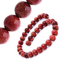 Бусины натуральный камень на нитке Авантюрин Золотой песок 12мм, L- 36,5см
