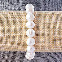 Браслет из речного жемчуга №3, белые бусины природной формы 10-11мм на резинке, размер 8см