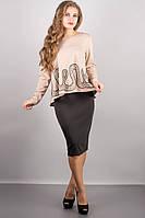 Женский модный костюм: кофта + юбка (расцветки) (+ большие размеры)