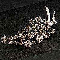 [30/70 мм] Брошь металл под капельное серебро цветочная со стразами