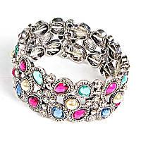[6см] Браслет женский, яркий, украшен разноцветными камнями различной формы
