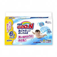 Влажные салфетки GOO.N для чувствительной кожи  (6 мягких сменных блоков по 70 шт)