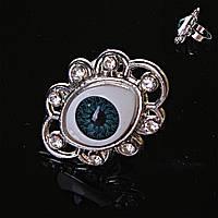 Кольцо безразмерный глаз страза синий