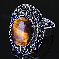 """Кольцо  Тигровый глаз оправа  """"под капельное серебро""""  овальный камень  2,5*1,8 см без р-р"""